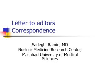 Letter to editors Correspondence