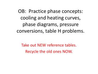 OB:  Practice phase concepts:   cooling and heating curves,  phase diagrams, pressure conversions, table H problems.