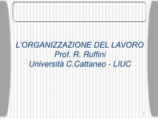 L'ORGANIZZAZIONE DEL LAVORO Prof. R. Ruffini Università C.Cattaneo - LIUC