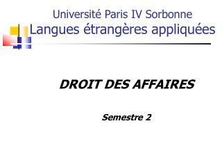 Universit� Paris IV Sorbonne Langues �trang�res appliqu�es