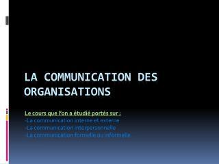 La communication des organisations