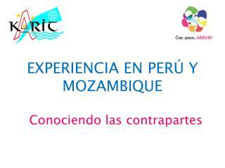 EXPERIENCIA EN PERÚ Y MOZAMBIQUE