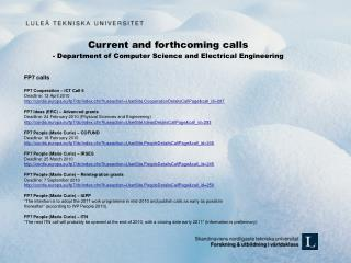 Current and forthcoming calls -  Department of Computer Science and Electrical Engineering