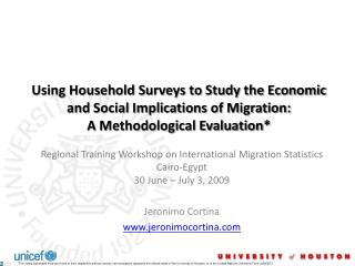 Using Household Surveys to Study the Economic and Social Implications of Migration:  A Methodological Evaluation*