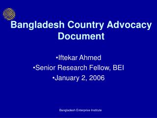 Bangladesh Country Advocacy Document