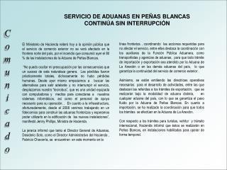SERVICIO DE ADUANAS EN PEÑAS BLANCAS  CONTINÚA SIN INTERRUPCIÓN