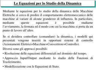 Le Equazioni per lo Studio della Dinamica