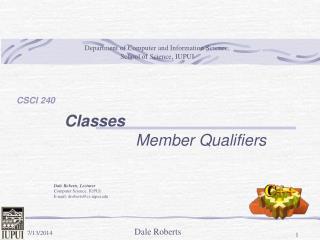 Classes Member Qualifiers