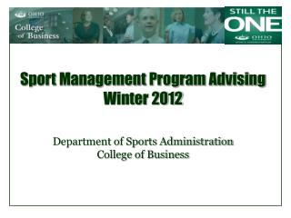 Sport Management Program Advising Winter 2012