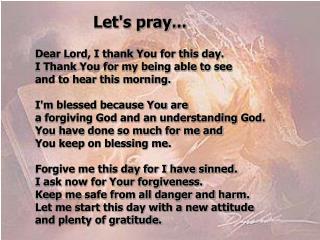 Let's pray...