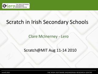Scratch in Irish Secondary Schools