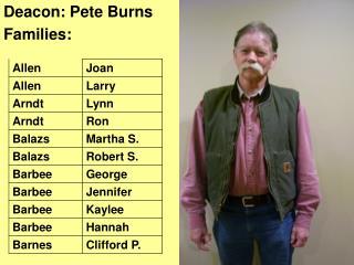 Deacon: Pete Burns Families:
