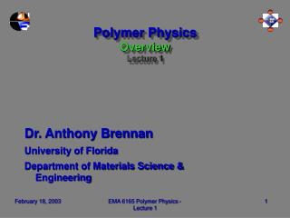 Polymer Physics Overview Lecture 1