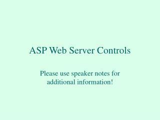 ASP Web Server Controls