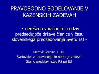 Matevž Pezdirc, LL.M. Svetovalec za pravosodje in notranje zadeve Stalno predstavništvo RS pri EU