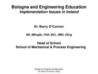 Bologna and Engineering Education Implementation Issues in Ireland