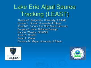 Lake Erie Algal Source Tracking (LEAST)