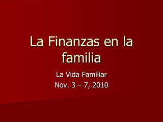 La Finanzas en la familia