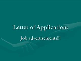 Letter of Application: