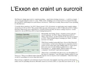 L'Exxon en craint un surcroit
