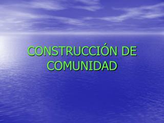 CONSTRUCCI�N DE COMUNIDAD