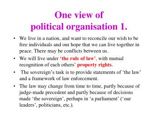 One view of  political organisation 1.