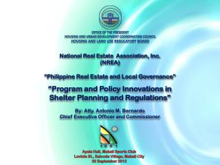 Office of the  President Housing and urban development coordinating council Housing and Land Use Regulatory Board