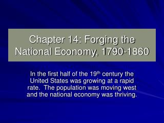 Chapter 14: Forging the National Economy, 1790-1860