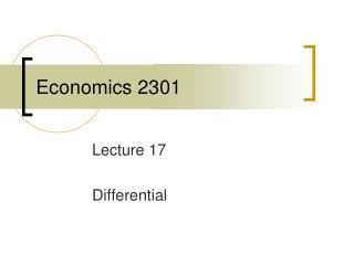 Economics 2301