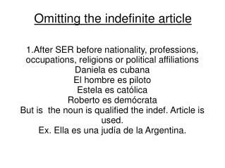 Omitting the indefinite article