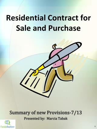 Residential Contract for Sale and Purchase