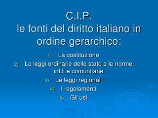 C.I.P. le fonti del diritto italiano in ordine gerarchico: