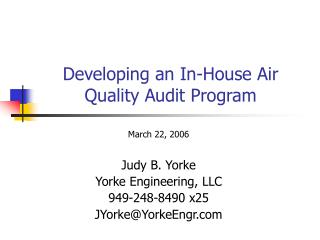 Developing an In-House Air Quality Audit Program