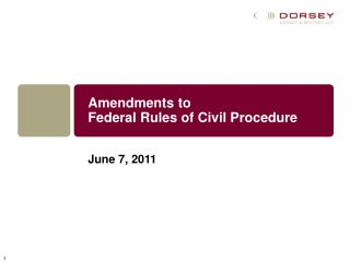 Amendments to  Federal Rules of Civil Procedure