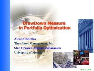 DrawDown Measure in Portfolio Optimization