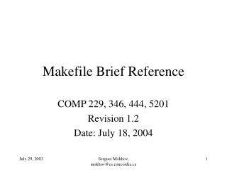Makefile Brief Reference