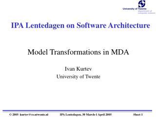 IPA Lentedagen on Software Architecture