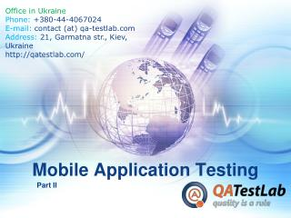 Mobile Application Testing. Part II