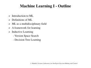 Machine Learning I - Outline