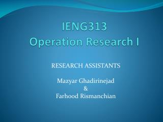 IENG 313 Operation Research I