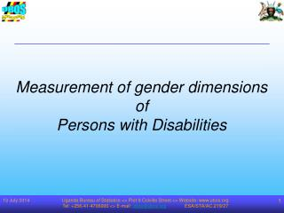 Measurement of gender dimensions  of  Persons with Disabilities