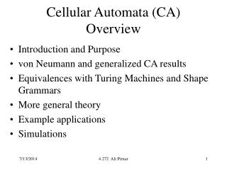Cellular Automata (CA) Overview