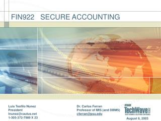 FIN922   SECURE ACCOUNTING