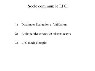 Socle commun: le LPC