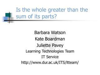 Is the whole greater than the sum of its parts?