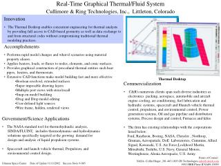 Real-Time Graphical Thermal/Fluid System Cullimore & Ring Technologies, Inc.,  Littleton, Colorado