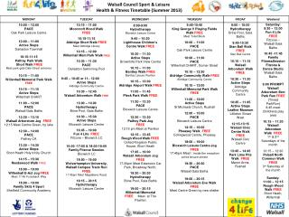 Walsall Council Sport & Leisure  Health & Fitness Timetable (Summer 2013)