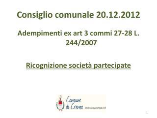 Consiglio comunale 20.12.2012