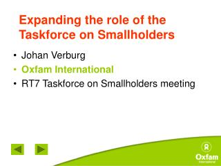 Expanding the role of the Taskforce on Smallholders