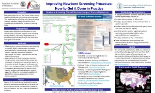 Improving Newborn Screening Processes:  How to Get it Done in Practice